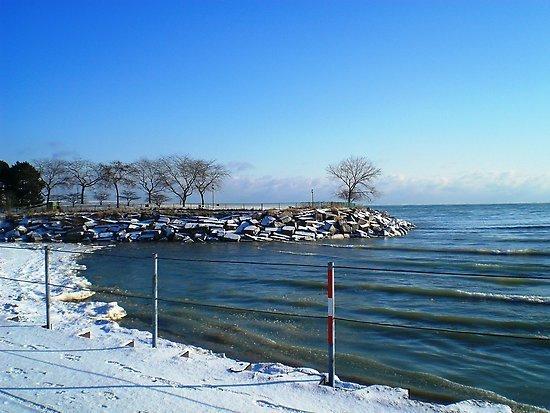 lake michigan from Northwestern campus